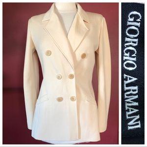 Giorgio Armani Ivory Sweater Jacket Wool/Silk 42